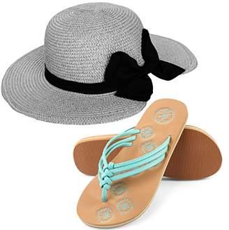 Aerusi Miss Anderson Floppy Straw Sun Hat and Foam Flip Flop Sandals Bundle Set