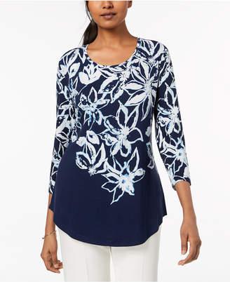 JM Collection Printed Shirttail-Hem Top