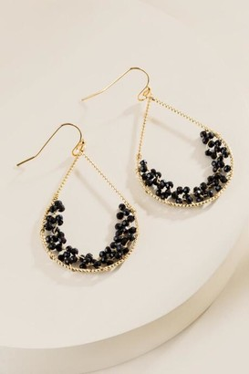 francesca's Margaret Beaded Teardrop Earrings - Black