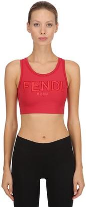 Fendi Logo Printed Stretch Jersey Bra Top