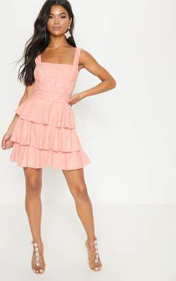 PrettyLittleThing Peach Lace Square Neck Contrast Trim Tiered Skater Dress