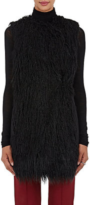 Theory Women's Nyma V Faux-Fur Vest-BLACK $199 thestylecure.com