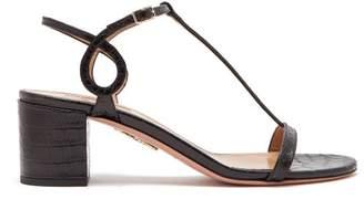 Aquazzura Almost Bare 50 Crocodile Effect Leather Sandals - Womens - Black