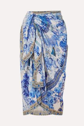 Camilla Printed Cotton And Silk-blend Pareo - Bright blue