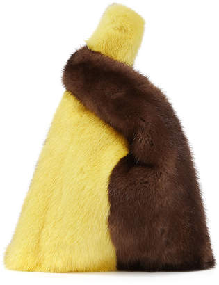 Hayward Mini Mink Fur Shopper Tote Bag, Black/White/Dark Brown/Lemon Sorbet
