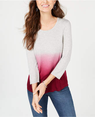 Style&Co. Style & Co Ombre High-Low T-Shirt, Created for Macy's