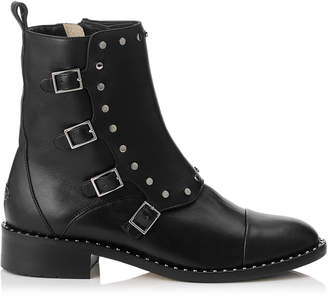 Jimmy Choo BAXTER 35 Black Shiny Leather Boots with Studs Trim