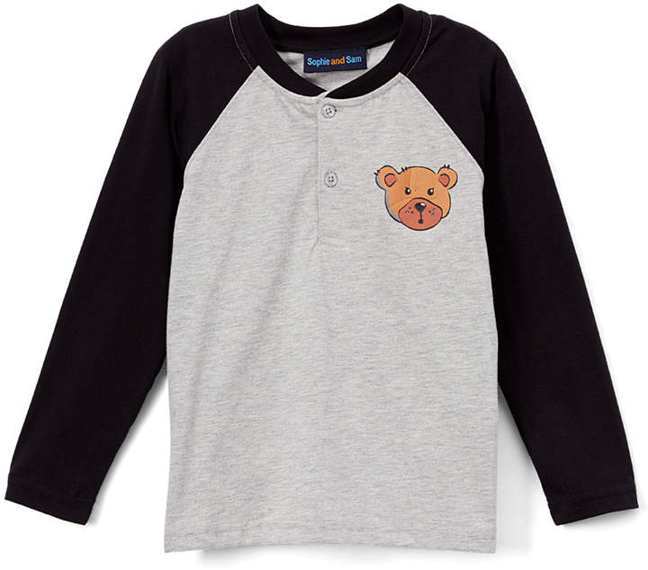 Black & Gray Bear Raglan Henley - Infant, Toddler & Boys