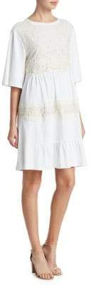 Lace-Accented T-Shirt Dress