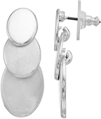 Dana Buchman Silver Tone Triple Disc Drop Earrings