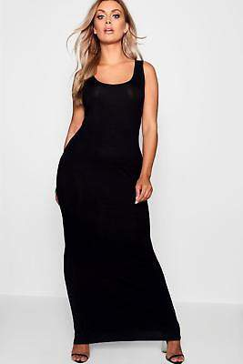 boohoo NEW Womens Plus Scoop Neck Maxi Dress in Viscose 5% Elastane