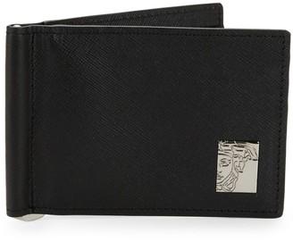 Versace Logo Plaque Saffiano Leather Wallet
