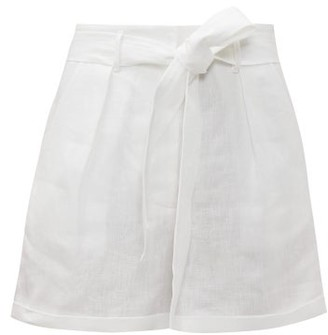Loup Charmant Tellin High Rise Linen Shorts - Womens - White
