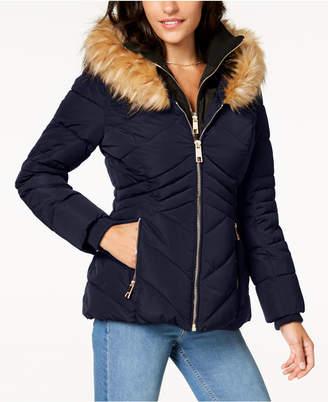 GUESS Faux-Fur-Trim Hooded Puffer Coat