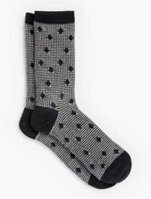 Talbots Houndstooth Dot Trouser Socks