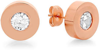 FINE JEWELRY Round White Crystal 18K Rose-tone Stainless Steel Stud Earrings