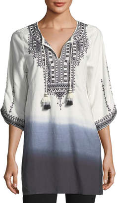 Tolani Aria Embroidered Tie-Dye Tunic, Plus Size