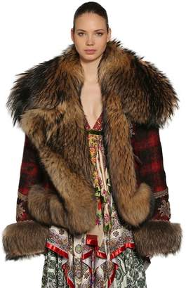 DSQUARED2 Check Wool Blend Jacket W/ Fur