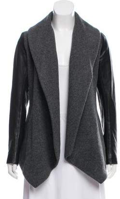Theory Leather-Trimmed Wool Jacket