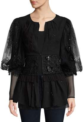 Dries Van Noten Women's Fine Net Lacework Silk Blouson