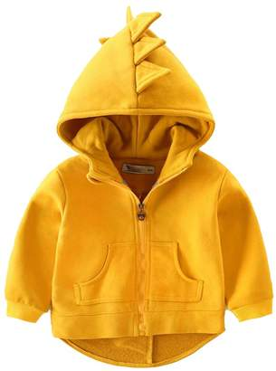 Vividda Little Boys Long Sleeve Dinosaur Hoodies Clothes Jacket Kids Zip-up Cotton Sweatshirt Solid 3-4 Years Old Gray