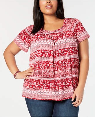 Style&Co. Style & Co Plus Size Print Pleated-Neck Top