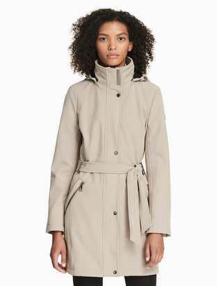 Calvin Klein soft shell belted hooded coat