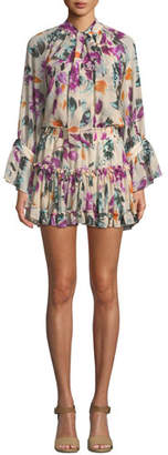 MISA Los Angeles Jolene Floral-Print Ruffle Tie-Neck Mini Dress