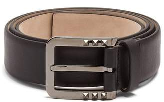 Valentino Studded Buckle Leather Belt - Mens - Black