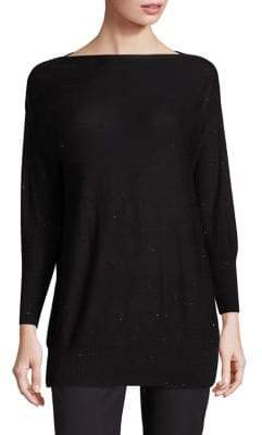 Lela Rose Women's Sequin-Embellished Boatneck Sweater - Black - Size XS
