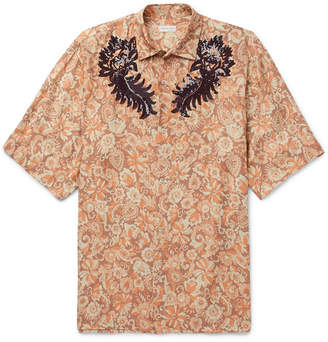 Dries Van Noten Oversized Sequinned Floral-Print Voile Shirt