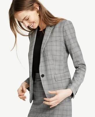 Ann Taylor Petite Glen Plaid One Button Perfect Blazer