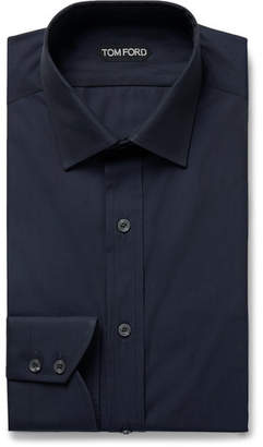 Tom Ford Navy Slim-Fit Cotton-Poplin Shirt - Men - Navy