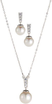 Majorica Cubic Zirconia Earrings & Pendant Necklace Set