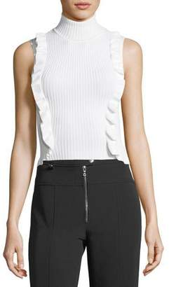 Cinq à Sept Eleanor Sleeveless Turtleneck Rib-Knit Top