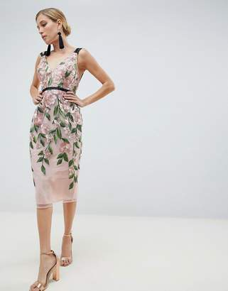 Asos Design DESIGN Floral Embroidered Pencil Midi Dress