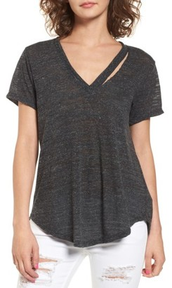 Women's Lush Slit V-Neck Tee $25 thestylecure.com