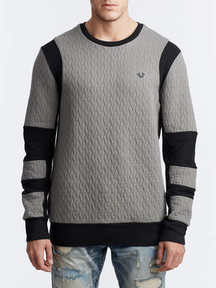 True Religion MENS HEAVYWEIGHT QUILTED MOTO PULLOVER