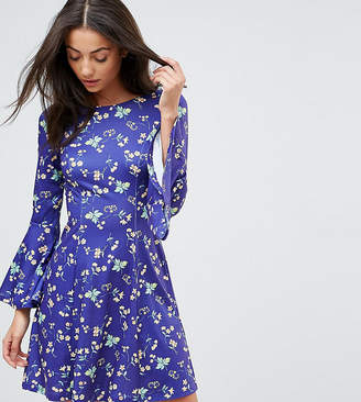 Asos Tall TALL Swing Dress With V Back and Frill in Ditsy Floral Print
