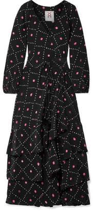 Figue Frederica Printed Silk Crepe De Chine Maxi Dress - Black