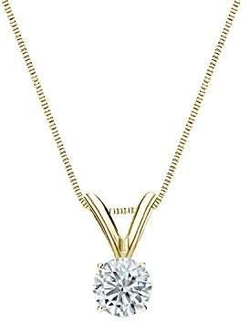 14k Yellow Gold Round Diamond Solitaire Pendant 4-Prong Basket (1/5 cttw