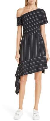 HUGO Kaloras Asymmetrical Pinstripe Dress