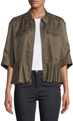 Cinq à Sept Helene Short-Sleeve Cropped Peplum Jacket