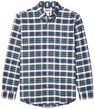 Amazon Essentials Men's Regular-Fit Plaid Long-Sleeve Pocket Oxford Shirt