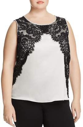Marina Rinaldi Bellezza Lace-Overlay Top