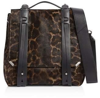 AllSaints Vincent Medium Leopard-Print Calf Hair Backpack