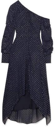 Jonathan Simkhai One-shoulder Metallic Georgette Maxi Dress - Midnight blue