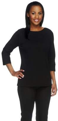 Denim & Co. Essentials Bateau Neck 3/4 Sleeve Knit Top