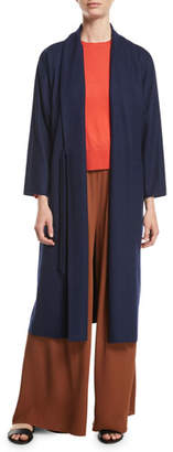 Eileen Fisher Boiled Wool Jersey Long Wrap Jacket, Plus Size