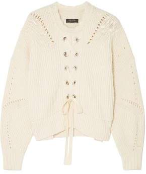 Isabel Marant Lacy Lace-Up Ribbed Cotton-Blend Sweater